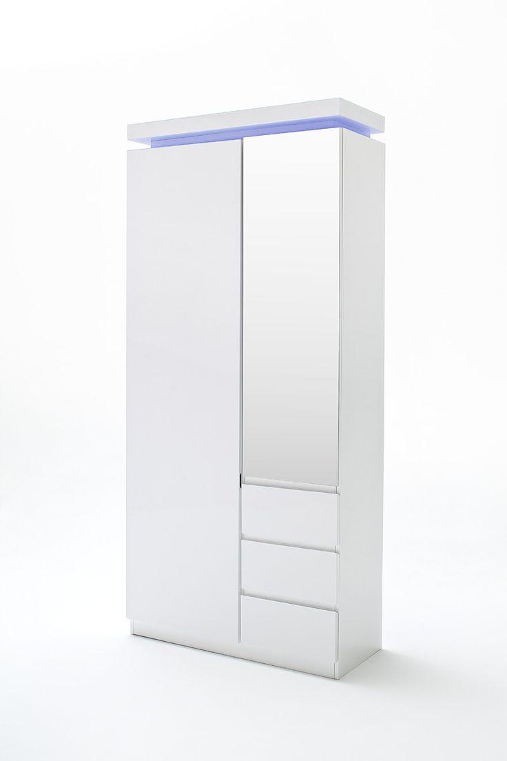 Garderobenschrank Nemo inkl. LED Hochglanz weiß lackiert passend zum Garderobenprogramm Nemo 1 x Garderobenschrank inklusive LED Beleuchtung mit Fernbedienung mit 1 Tür /...
