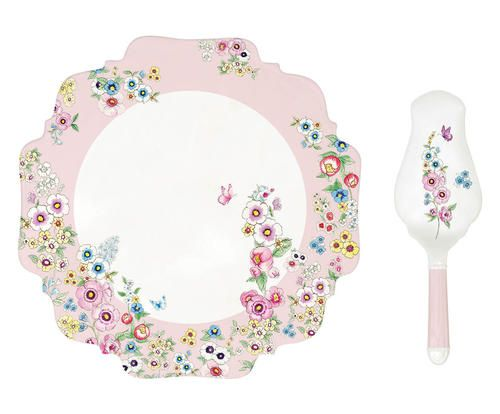 Piatto per torta con paletta in porcellana Colore bianco rosa  ad Euro 29.00 in #Delta group design s p a #Kitchendining tablewareserveware