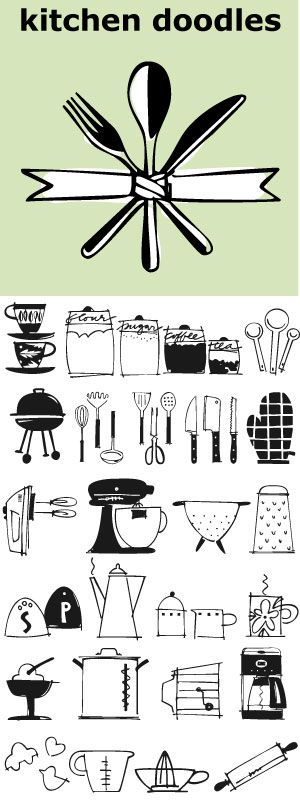 "Julia Child said, ""I didn't start cooking until I was 32: up until then I just ate"". Whether you cook or eat, design menus or place cards or cookbooks this set of 30 fresh Kitchen Doodle illustrations makes the job easier. Baking, cooking, mixing, chopping, grating, this little font has it all. Bon Appétit!"
