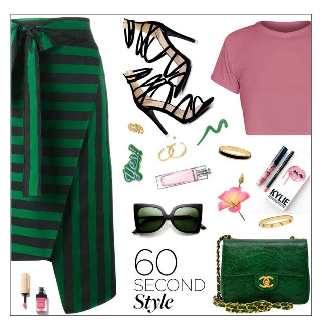 """""""Striped Skirt"""" by nastenkakot ❤ liked on Polyvore featuring Boohoo, Rochas, Chanel, ZeroUV, Kylie Cosmetics, Tory Burch, Halcyon Days, Christian Dior, Yves Saint Laurent and Anya Hindmarch"""
