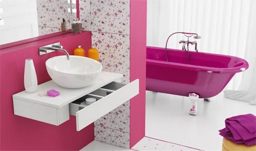 Modern Fresh Pink Bathroom by Marcin PajakBathroom Design, Clawfoot Tubs, Home Interiors Design, Dreams Bathroom, Bathroom Theme, Bathroom Decor, Google Drive, Modern Design, Pink Bathroom