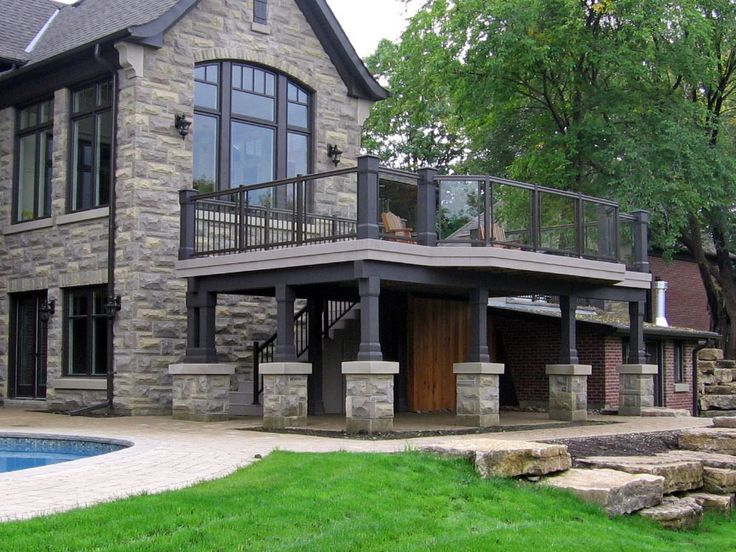 This low maintenance deck was built by Hickory Dickory Decks in Vaughan. Nice stone post covers.