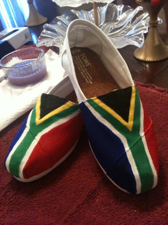 Hand painted by me South Africa Flag inspired by my trip to there spring break 2010
