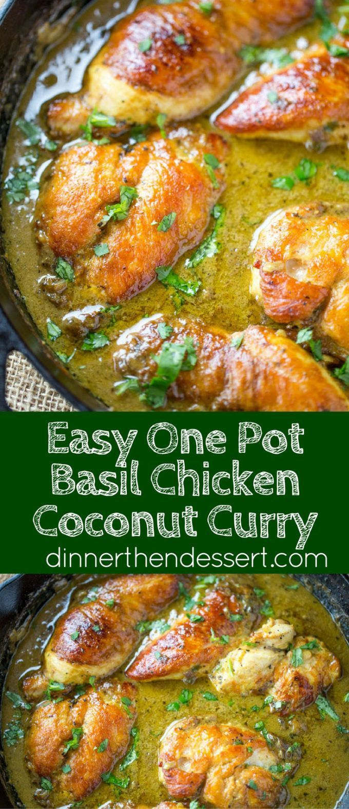 One Pot Basil Chicken Coconut Curry is a mild flavored curry with a bit of a kick from jalapenos that even curry haters with love and it's a breeze to make in one pot!