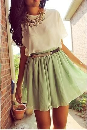 Flow with the wind!Green Skirts, Fashion, Mint Green, Summer Outfit, Statement Necklaces, Style, Mint Skirts, Clothing, Cute Outfit