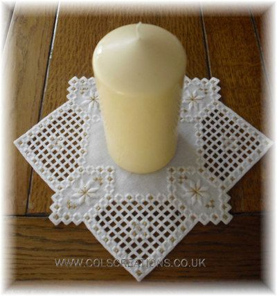 Col's Creations - Traditional Hardanger Charts - A Christmas Candle Mat - An Elegant Design For The Festive Season