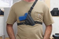 This Chest Holster is easy to conceal. It features convertibility from RH to LH shooter and muzzle up or muzzle down too.