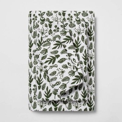 Full Microfiber Foliage Print Sheet Set Green/White – Room Essentials