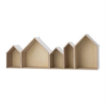 Das Häuser-Regal der dänischen Marke Bloomingville ist eine praktische, optisch ansprechende Verwahrungsalternative. Wählen Sie zwischen verschiedenen Farben.