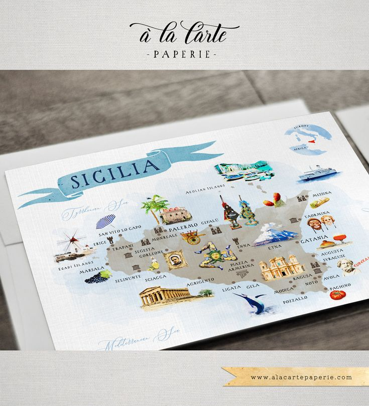 wedding invitations map%0A Sicily Taormina Italy Italian Sicilian Destination wedding invitation set  watercolor illustration and illustrated Sicily map