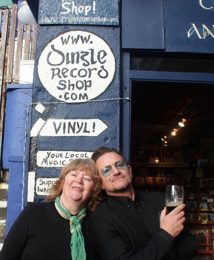 Mazz and Bono outside Dingle Record Shop www.dinglerecordshop.com