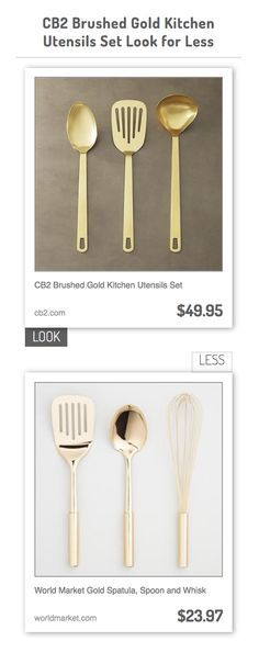 CB2 Brushed Gold Kitchen Utensils Set vs World Market Gold Spatula, Spoon and Whisk