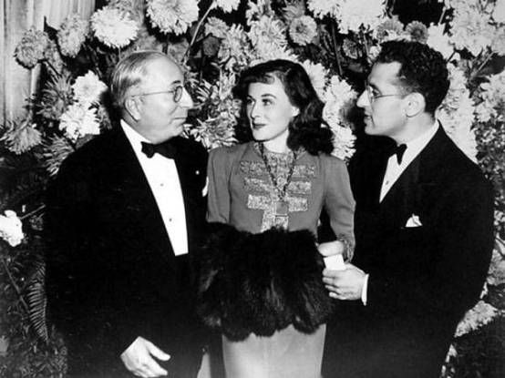 With Louis B. Mayer and Paulette Goddard
