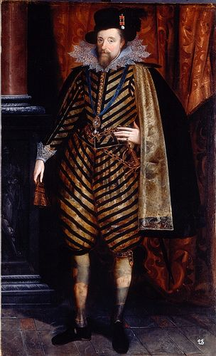 Full Length Portrait of King James VI and I (1566 - 1625) 1618-1620c.He was the son of Mary Queen of Scots.