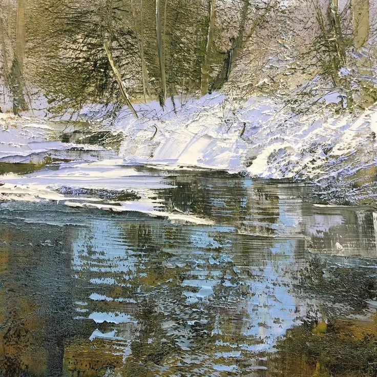 "46x40"" #painting #oilpainting #oiloncanvas #contemporaryart #contemporarypainting #contemporaryrealism #winter #snow #stream #ice #westvirginia #highlands #lynnboggess"