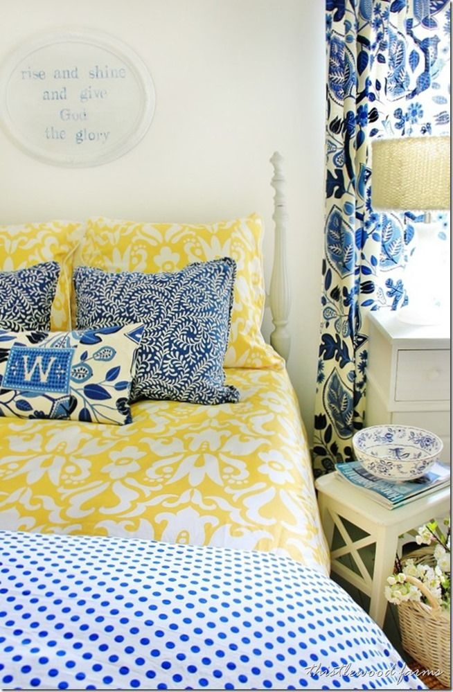 """Blue and Yellow Farmhouse Bedroom - Thistlewood Farm   maybe we can find that """"scramble"""" fabric  looks like vines"""