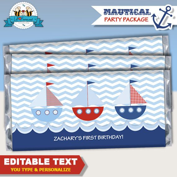 Editable Nautical Boat Birthday Party Baby by LilFacesPrintables, $3.95