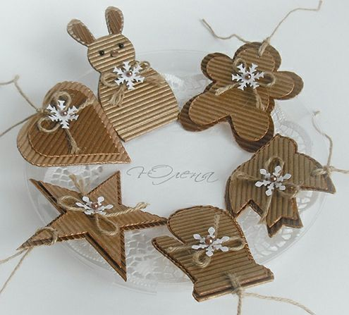 handmade ornaments ... corrugated kraft layered die cuts with bows & snowflakes ...