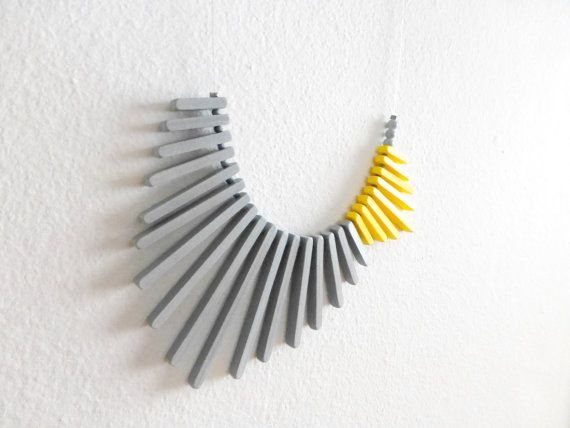 yellow grey geometric necklace minimalist concept