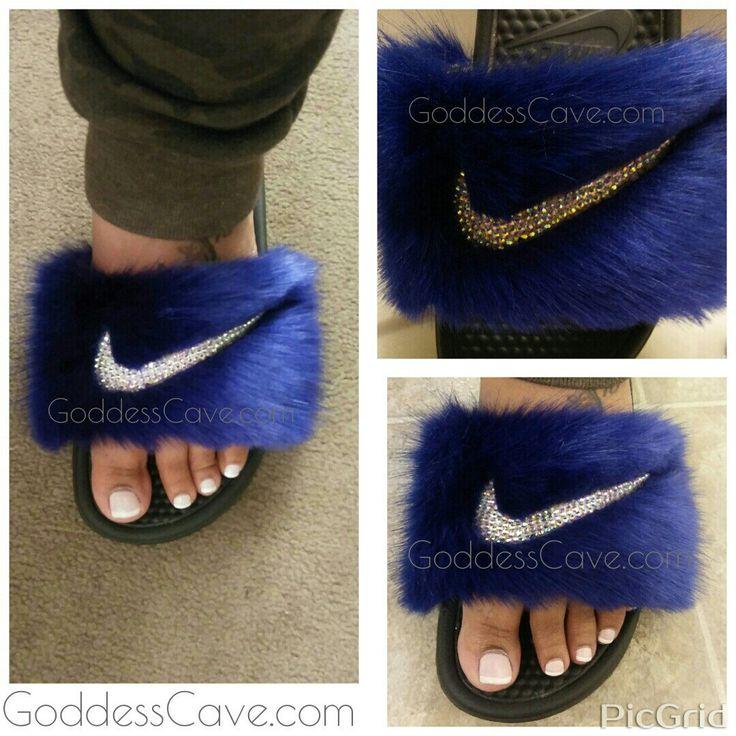 Sapphire✨✨ Blue Fur Nike Slides with AB crystals. www.GoddessCave.com