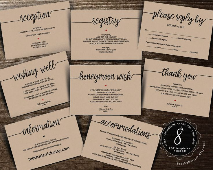 Do You Put Wedding Registry In Invitations: Wedding Insert Cards PDF Template (Instant Download