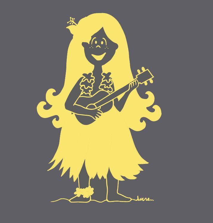 Lux hawaiana!   #lux #muñeca #pink #doll #hawaii #ukelele #yellow #ilustration #ilustracion ver mas en FB: lux la muñeca