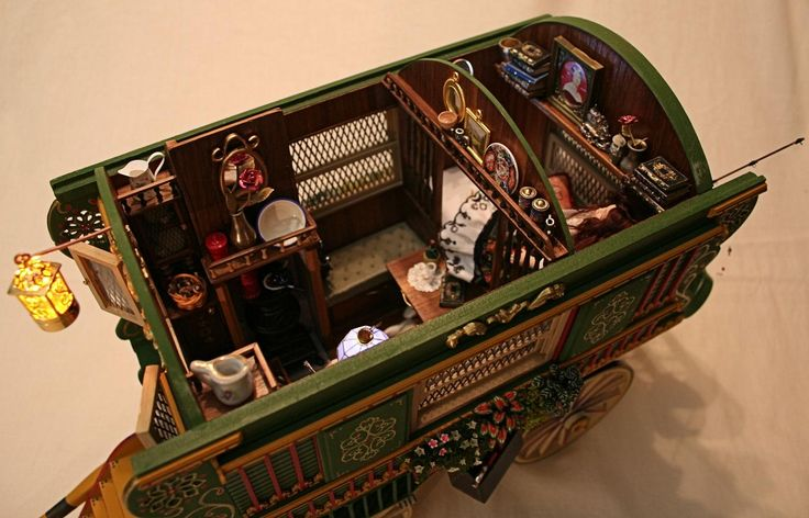 1:12 miniature Gypsy Vardo - the inside  2012 Best on Show at the Annual Miniature Fair in Cape Town