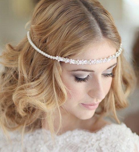 Bridal headdress wedding bridal forehead by CorrineSmithDesign, £150.00