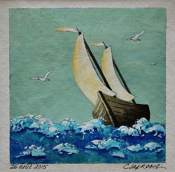 small sailboat painting, original art wall, acrylic on canvas, boat, sailing ship, sea, ocean, seagull, blue, white, 6 x 6 inches plus mat