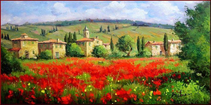 Large Tuscany Art | Tuscany Landscape Painting