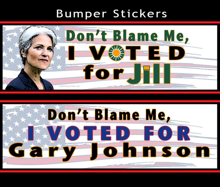 """Did you vote for the winner? If not, let everyone know that you stand by your #candidate with our """"Don't Blame Me, I Voted for..."""" #BumperStickers. The #BumperSticker for #JillStein of the #GreenParty features an #original #illustration. #Hillary Clinton #GaryJohnson #Libertarian #Green #DontBlameMe #IVotedFor #Political #Politics #ThirdParty #2016 #Election #President #Presidential"""