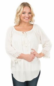 Pink Cattlelac Women's Cream Lace Trimmed Long Sleeve Peasant Fashion Top | Cavender's