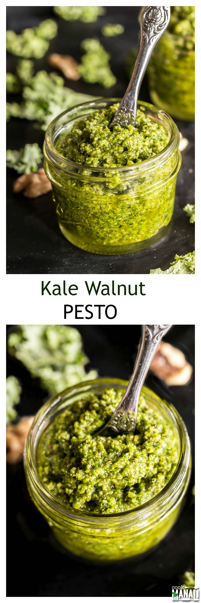 Kale Walnut Pesto is a super versatile sauce which is so good on just anything and everything! Add it to your sandwiches, veggies, pasta, pizza and much more! Find the recipe on www.cookwithmanali.com