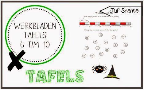 Juf Shanna: Werkbladen tafels: tafel 6 t/m 10