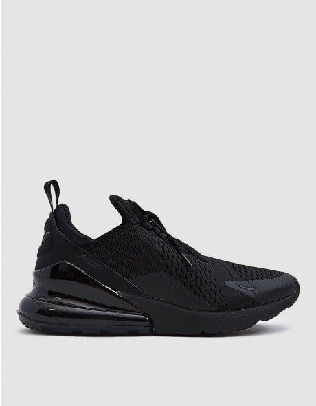 newest 9021a ceb36 Air Max 270 from Nike in Black. Knit upper with no-sew overlays. Neoprene  stretch bootie construction. Asymmetrical lace-up front with flat woven  laces.