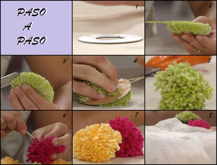 Un poquito de todo como hacer una alfombra de pompones - Como hacer pompones ...