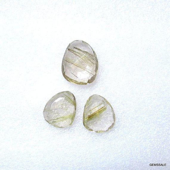 Pair 3 pcs Natural GOLDEN Rutile Uneven Rose Cut Size