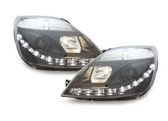 Ford Fiesta MK6 2002-2008 Black DRL Devil Eye Audi R8 Projector Headlights Comes with Headlight Bulbs