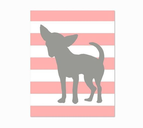Chihuahua Art - 8x10 - Chihuahua Illustration on Stripes, Pink and Grey, Dog Artwork, Great Pet Lover Gift on Etsy, $18.00 Love Your Dog? Visit our website NOW!