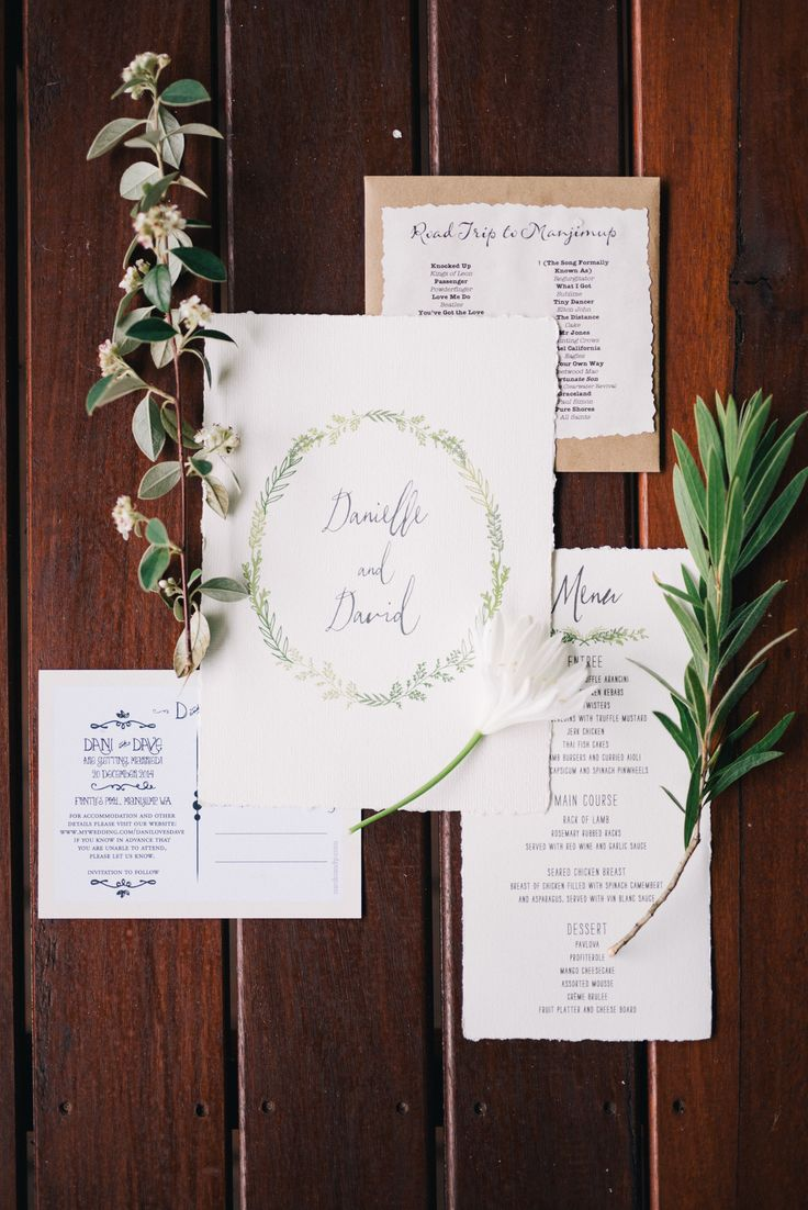Simple wedding invitation with boho-chic feeling for your rustic wedding inspiration | For those who love a down-to-earth and enjoyable outdoor wedding, the wedding of Dave and Danielle will definitely win your heart over. See more of their playful wedding album here. on http://www.bridestory.com/blog/one-couples-sweet-and-playful-wedding-in-australia