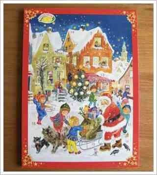 German Advent Calendar - Used to countdown the days to Christmas - Open the numbered door each day of December to reveal a piece of molded chocolate - My parents still get my brother and me one each year ~ <3 Michelle M