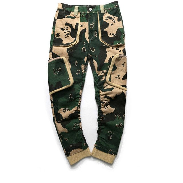 Men's Pants, Cargo Pants, Camouflage Pants, Casual Trousers, Black, Green