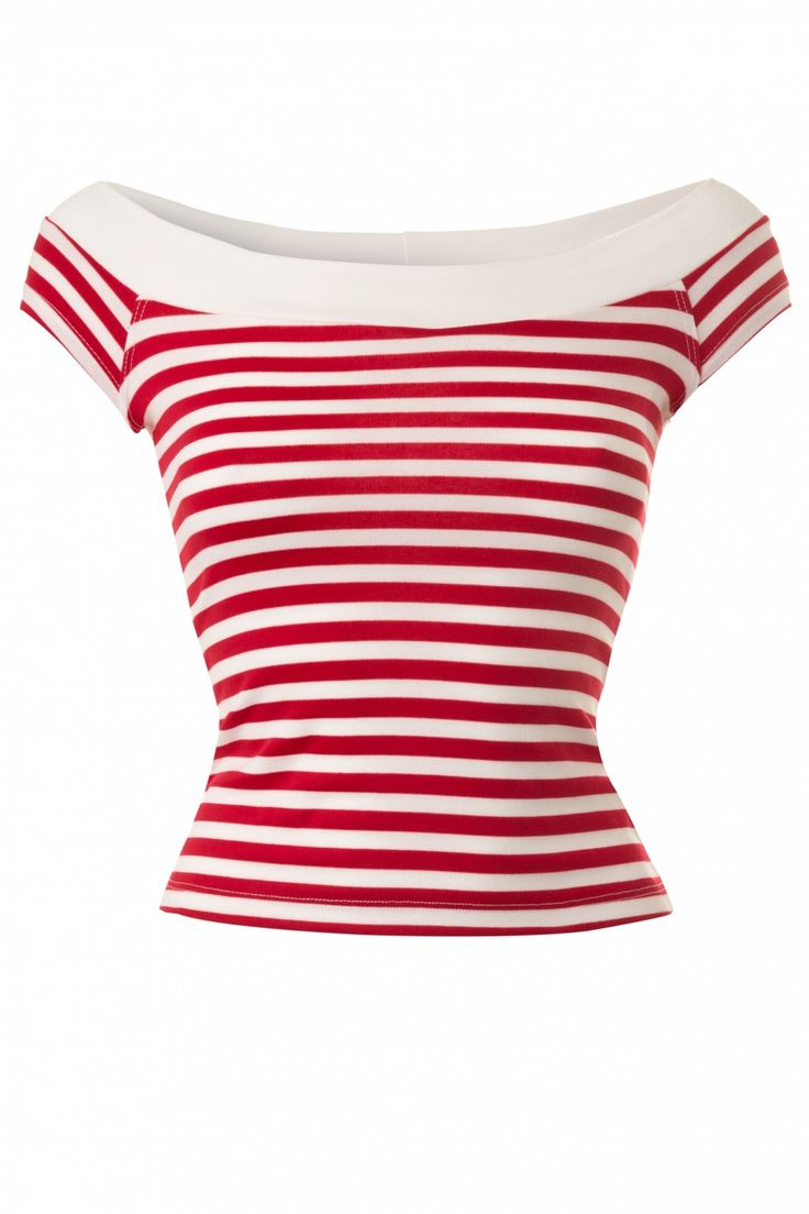 Bettie Page Clothing - Coast Guard Off Shoulder Top in Red White Stripes