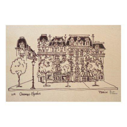 #Haussmann Architecture | Champs Elysees Paris Wood Wall Decor - #travel #art