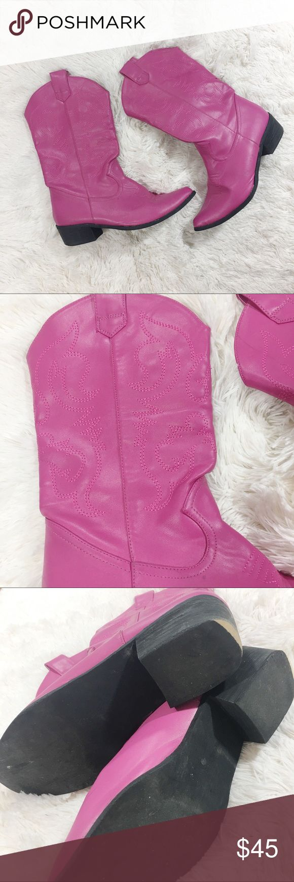 """Pink Women's Cowgirl Boots These adorable boots are in good, used condition. Bought them to wear to a concert. TBH I'm unsure of the size but I am usually a 8.5/9. Sole is about 10.5"""", width 2.5"""", heel 2"""", and calf circumference approx. 11"""". Little bit of scuffing around heel and toe as shown. Smoke free/pet free home. These were super hard to pass up! Shoes Heeled Boots"""