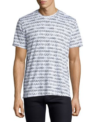 Skull-Print Jersey T-Shirt, White by Robert Graham at Neiman Marcus.