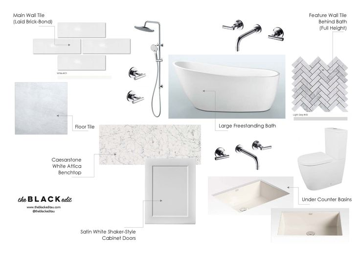 Modern country / farmhouse bathroom mood board - with reece bathroom tapware, marble herringbone mosaics, shaker style cabinets, under counter basins, caesarstone white attica benchtops, and assymetrical curved freestanding bath