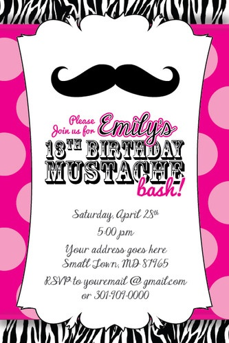 MUSTACHE BASH Zebra Print Invitation 13th Birthday Party