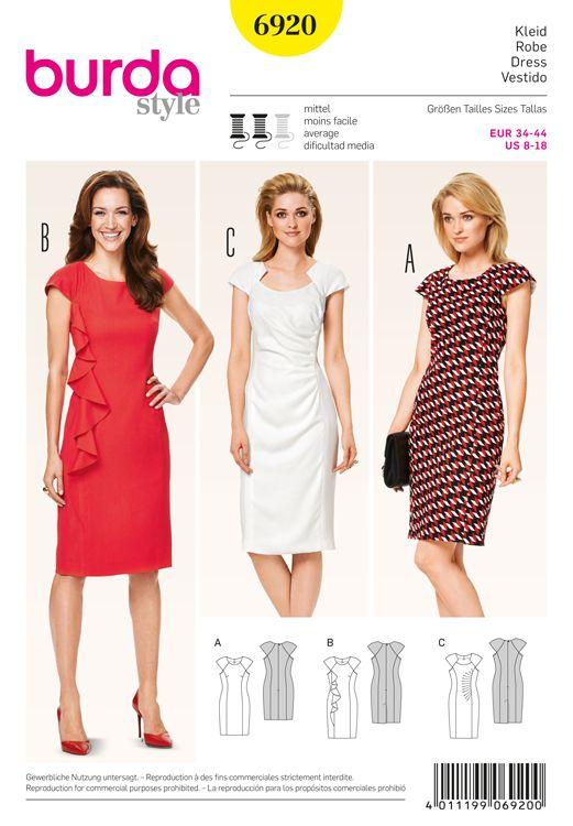 Misses Dress Burda Sewing Pattern No. 6920. Size 8-18.