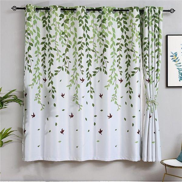 Fresh Leaf Print Curtains For Living Room Window High Quality